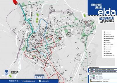 Mapa de rutas Transporte Urbano de Elda